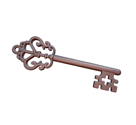 Copper key 3D model