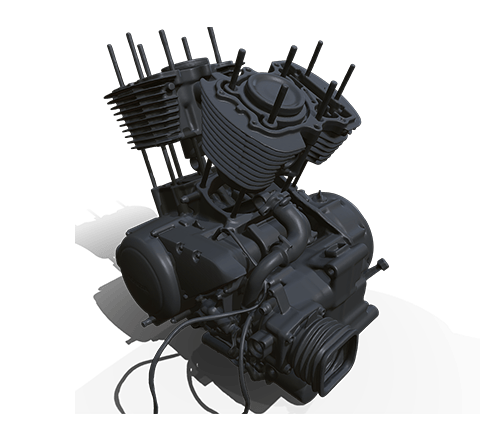 Motorcycle engine HD 3D model